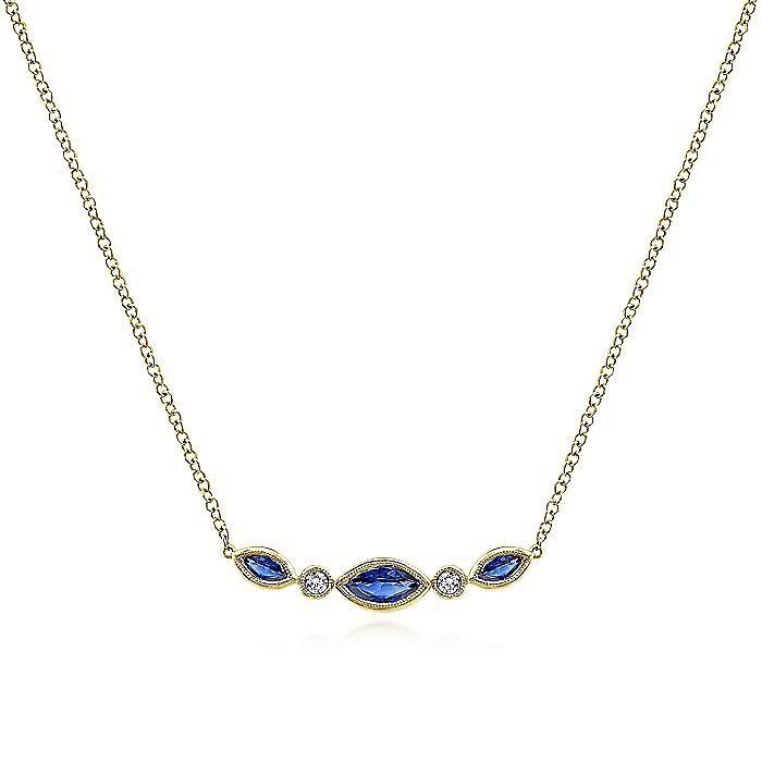 14K Yellow Gold Marquise Shape Sapphire and Bezel Set Diamond Bar Necklace