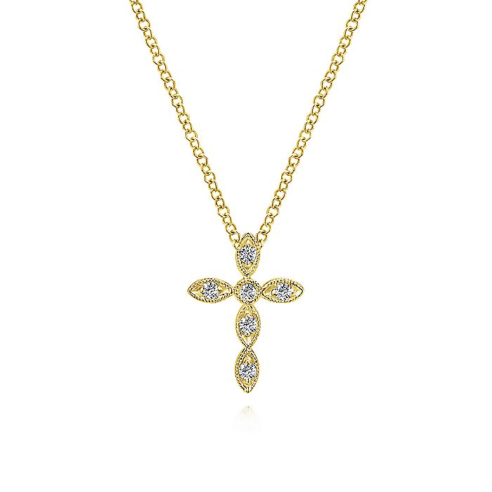 14K Yellow Gold Marquise Shaped Diamond Cross Necklace