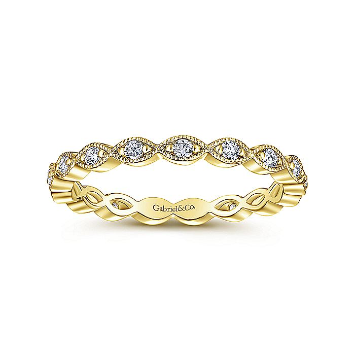 14K Yellow Gold Marquise Station Diamond Eternity Stackable Ring