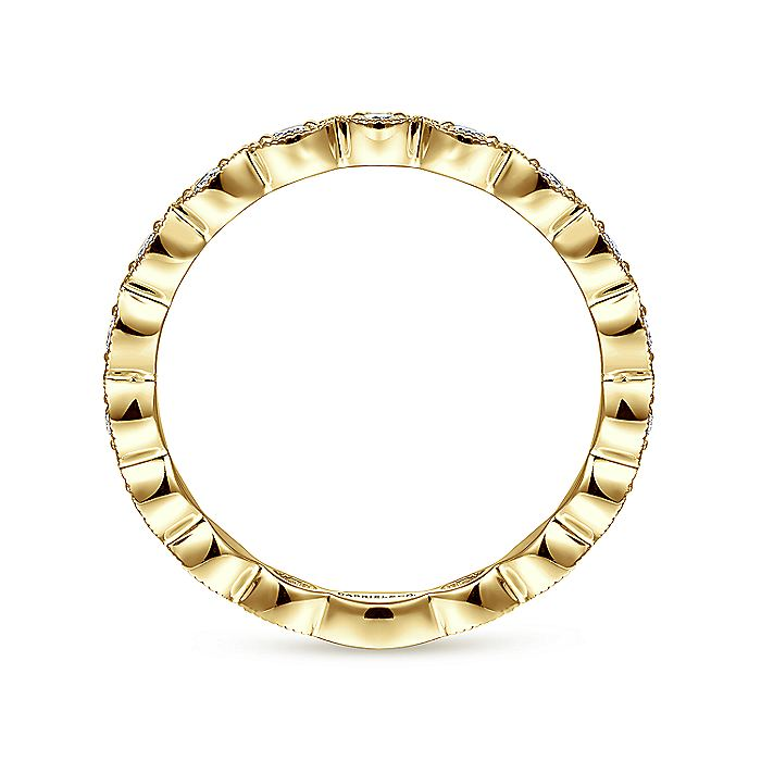14K Yellow Gold Marquise Station Diamond Stackable Ring