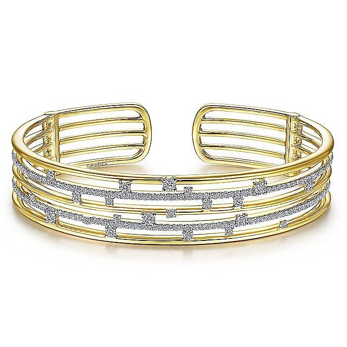 14K Yellow Gold Multi Row Cuff Bracelet with Diamonds