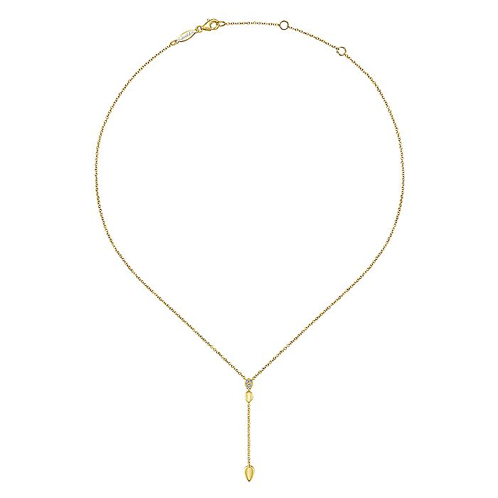 14K Yellow Gold Multi Teardrop Y Necklace with Diamonds