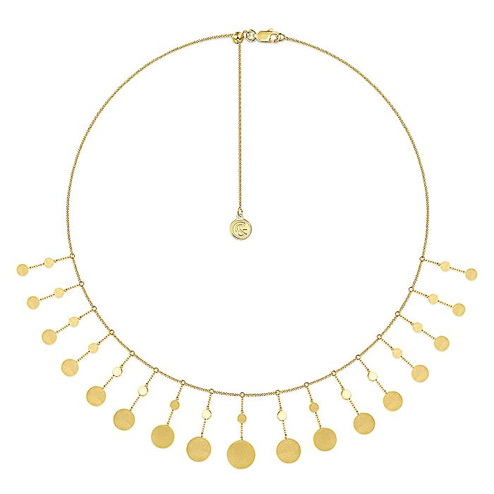 14K Yellow Gold Necklace with Round Shape Drops