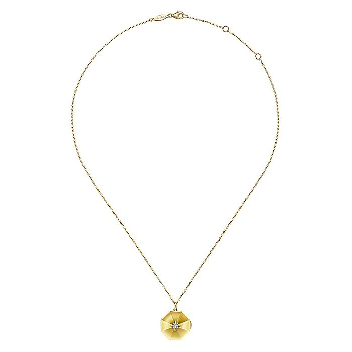 14K Yellow Gold Octagonal Locket Necklace with Diamond Star Center