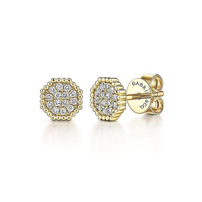 14K Yellow Gold Octagonal Pavé Diamond Cluster Stud Earrings