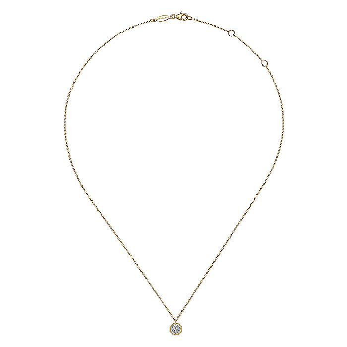 14K Yellow Gold Octagonal Pavé Diamond Pendant Necklace