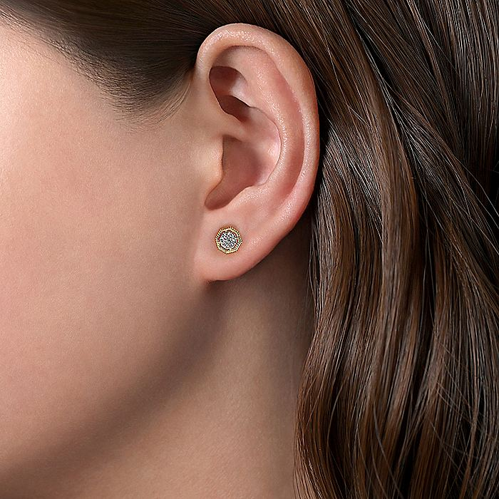14K Yellow Gold Octagonal Pavé Diamond Stud Earrings