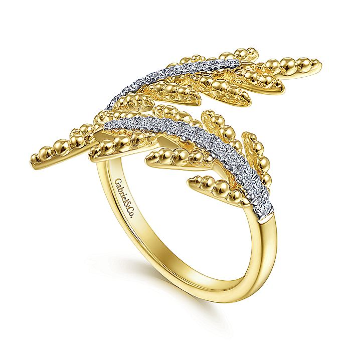 14K Yellow Gold Olive Branch Bypass Ring with Diamonds