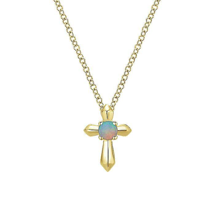 14K Yellow Gold Opal Cross Pendant Necklace