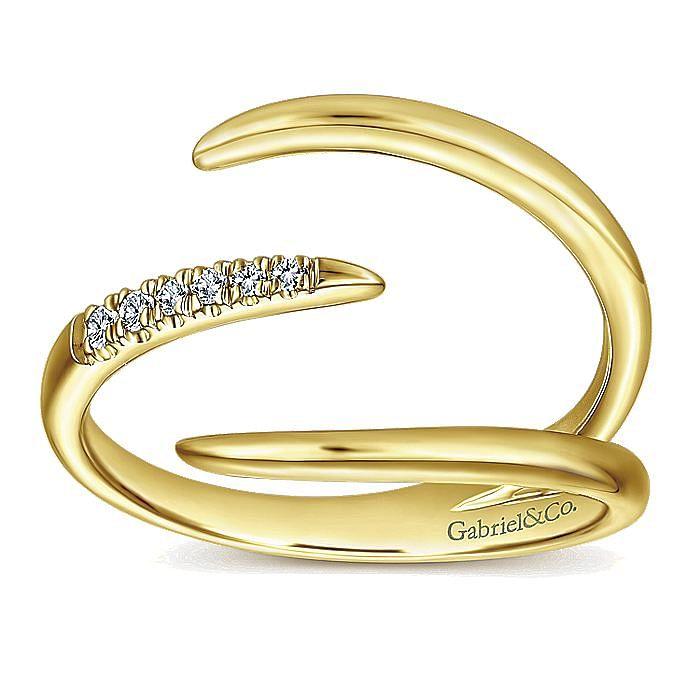 14K Yellow Gold Open Claw Diamond Ring