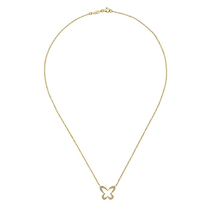 14K Yellow Gold Open Diamond Butterfly Pendant Necklace