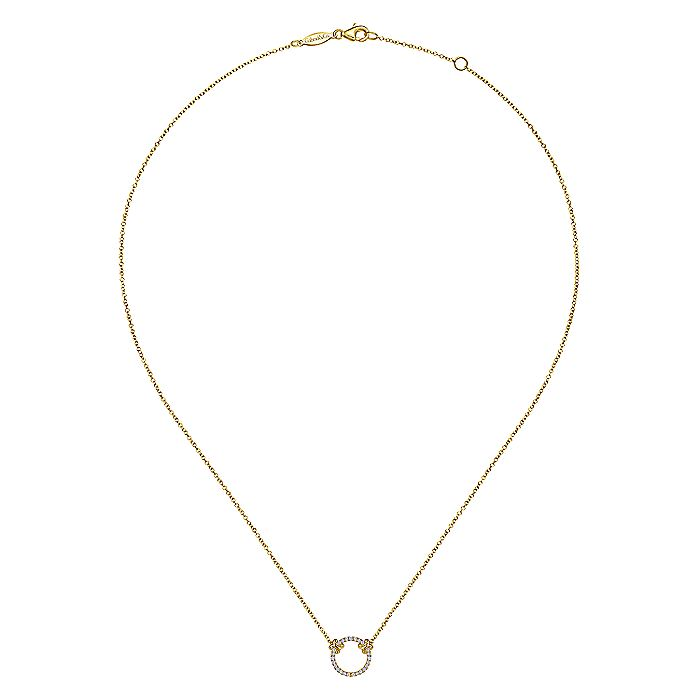 14K Yellow Gold Open Diamond Circle Pendant Necklace