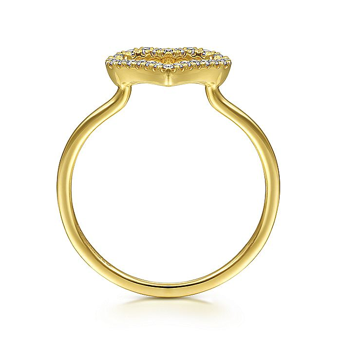 14K Yellow Gold Open Heart Diamond Ring