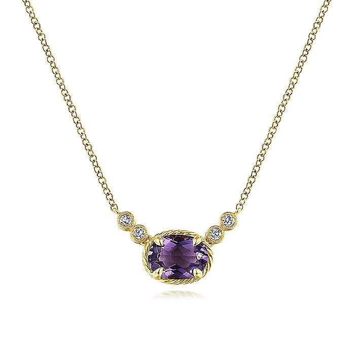14K Yellow Gold Oval Amethyst Pendant Necklace with Diamond Accents