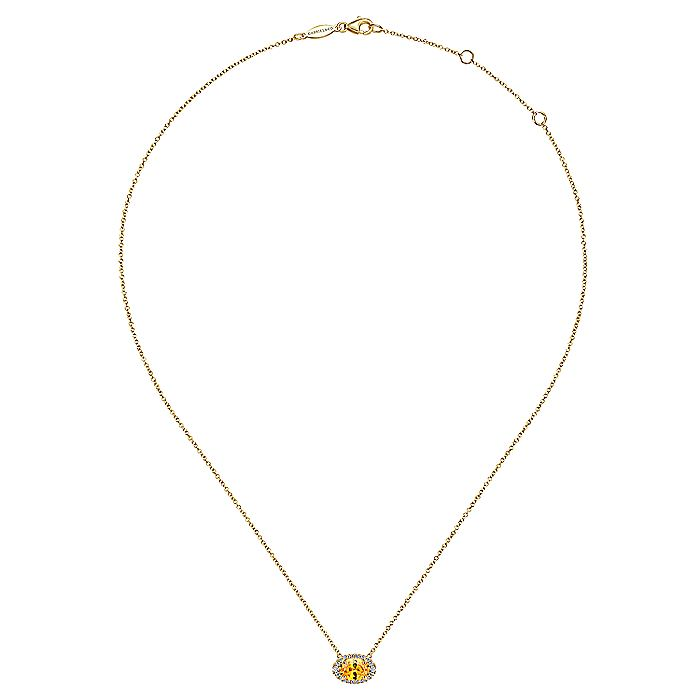 14K Yellow Gold Oval Citrine and Diamond Halo Pendant Necklace