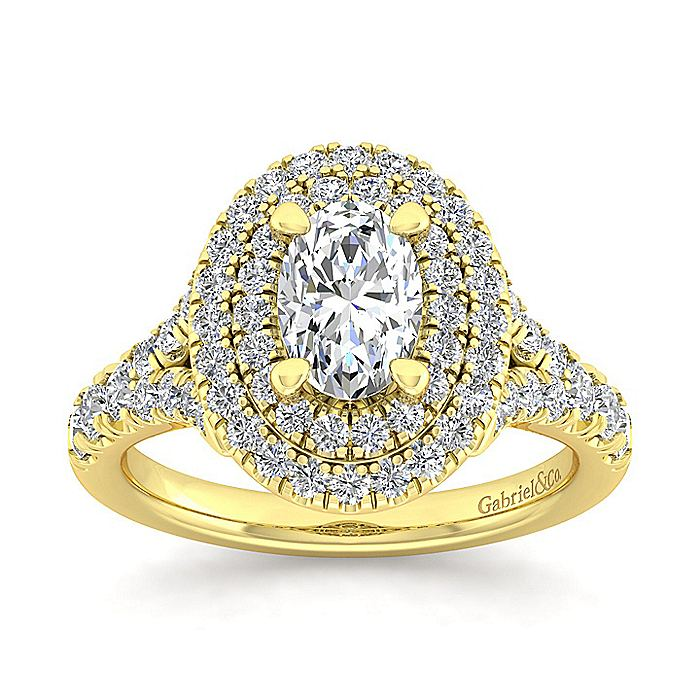 14K Yellow Gold Oval Double Halo Diamond Engagement Ring