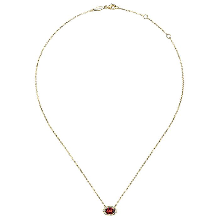 14K Yellow Gold Oval Garnet and Diamond Halo Pendant Necklace