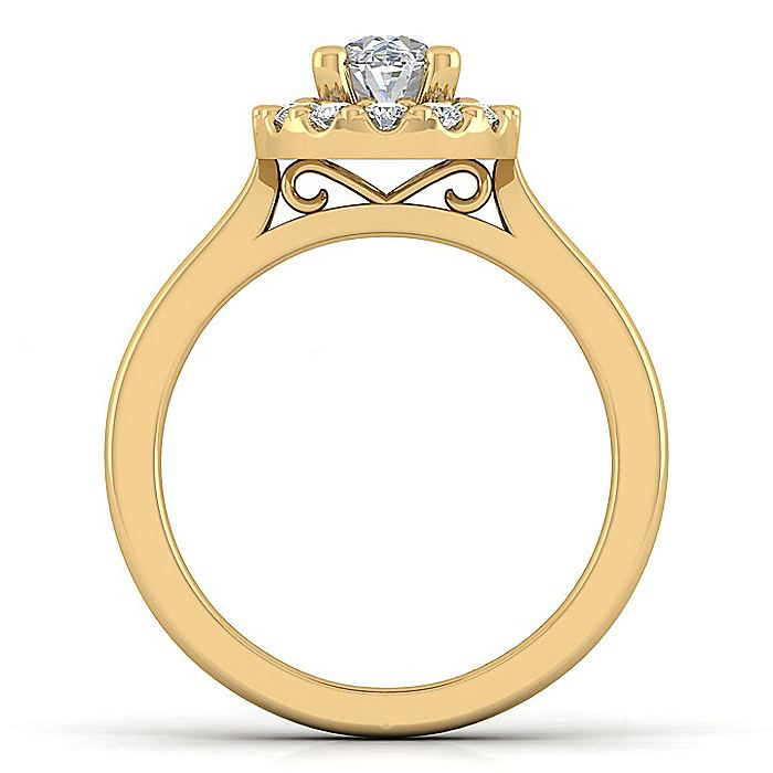 14K Yellow Gold Oval Halo Diamond Engagement Ring