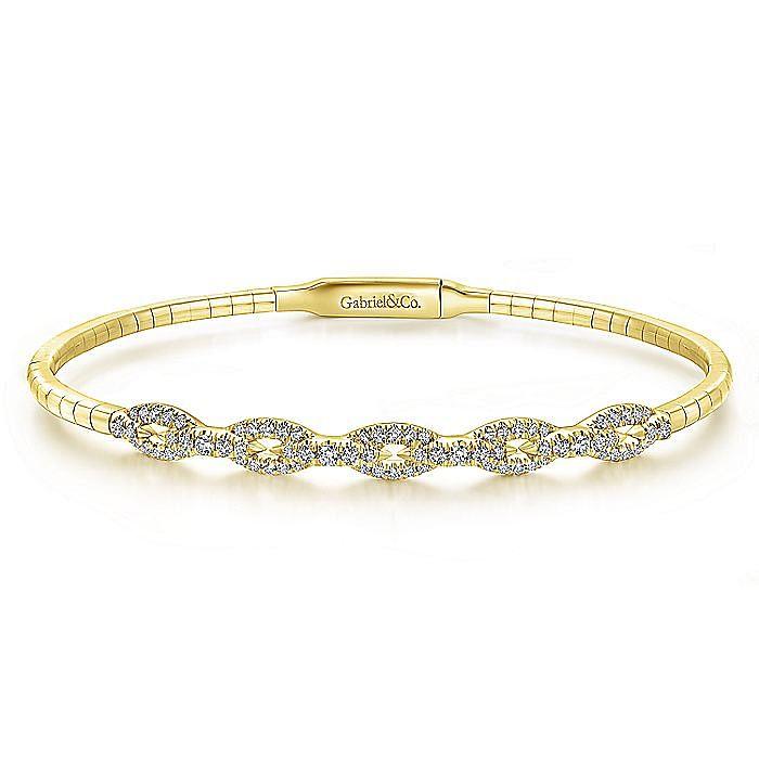 14K Yellow Gold Oval Link Diamond Bangle