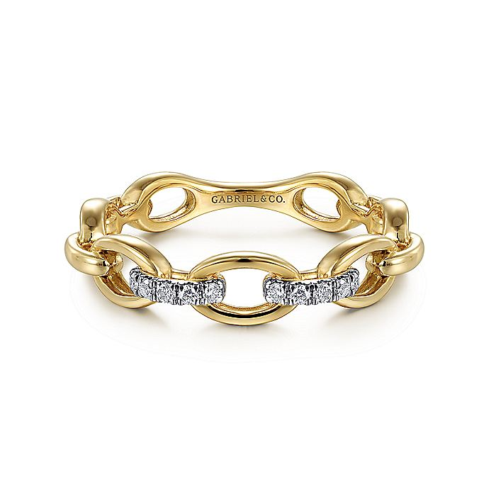 14K Yellow Gold Oval Link and Diamond Ladies Ring