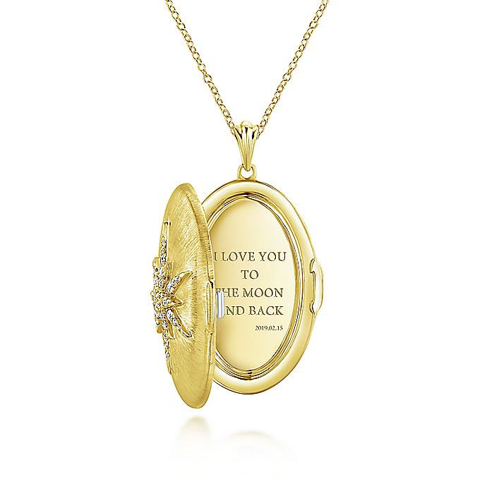 14K Yellow Gold Oval Locket Necklace with Diamond Starburst Overlay