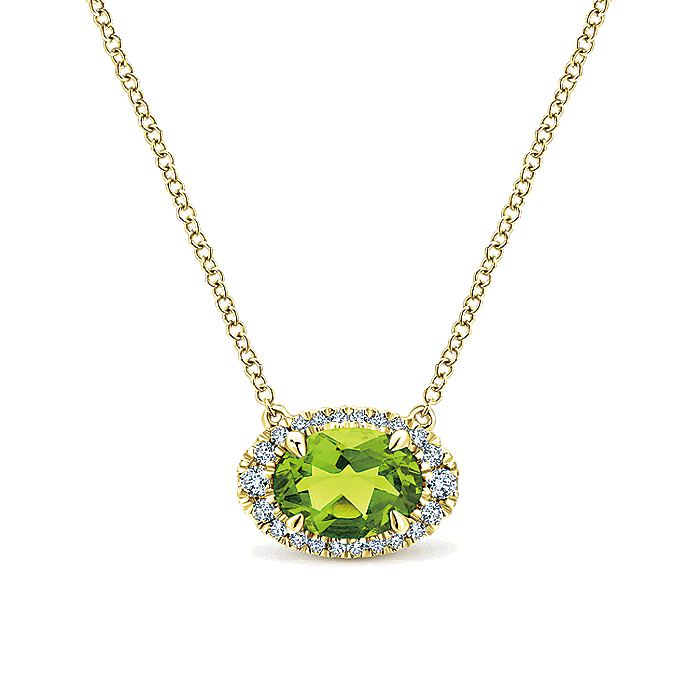 14K Yellow Gold Oval Peridot and Diamond Halo Pendant Necklace