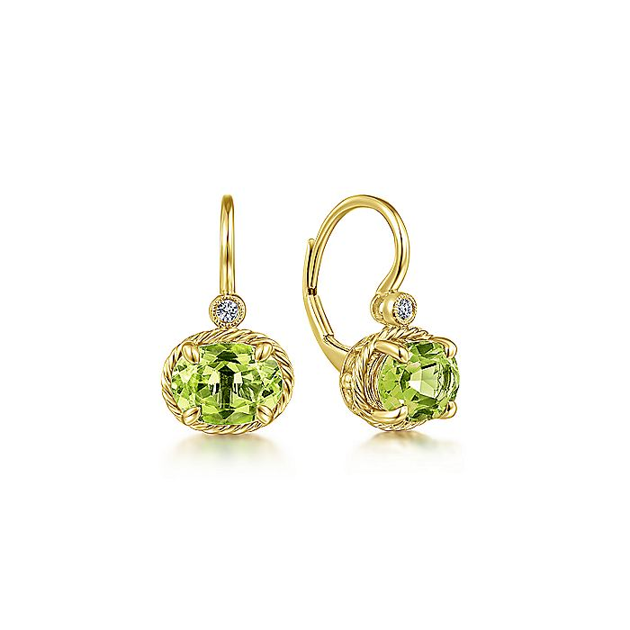 14K Yellow Gold Oval Peridot and Diamond Leverback Earrings