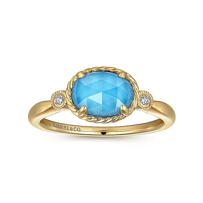 14K Yellow Gold Oval Rock Crystal/Turquoise Diamond Ring