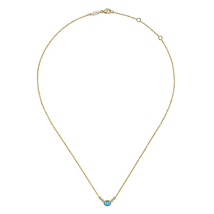 14K Yellow Gold Oval Rock Crystal/Turquoise Necklace with Diamond Accents