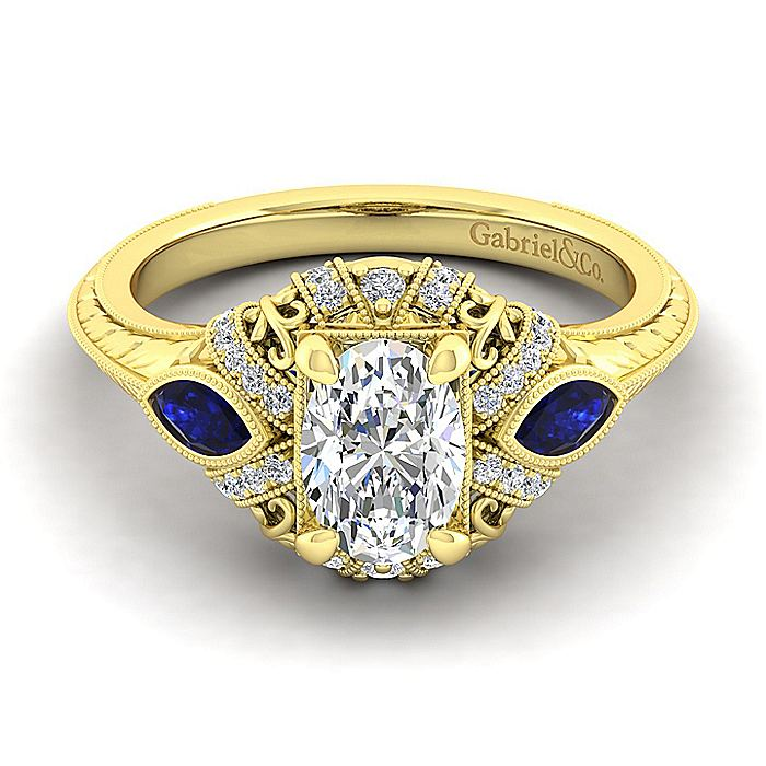 14K Yellow Gold Oval Sapphire and Diamond Engagement Ring