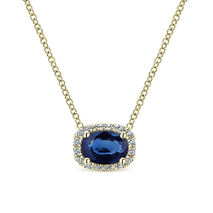 14K Yellow Gold Oval Sapphire and Diamond Halo Pendant Necklace