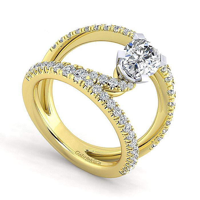 14K Yellow Gold Oval Split Shank Diamond Engagement Ring