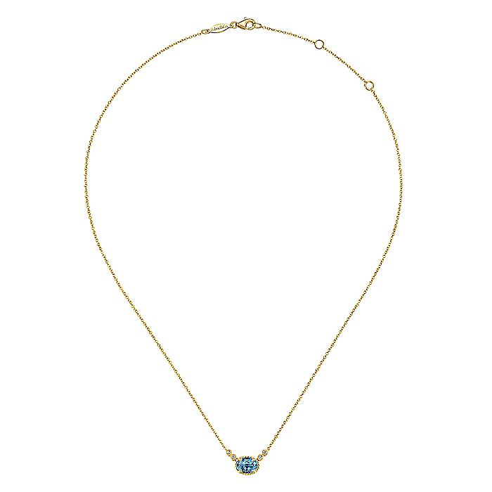 14K Yellow Gold Oval Swiss Blue Topaz and Diamond Necklace