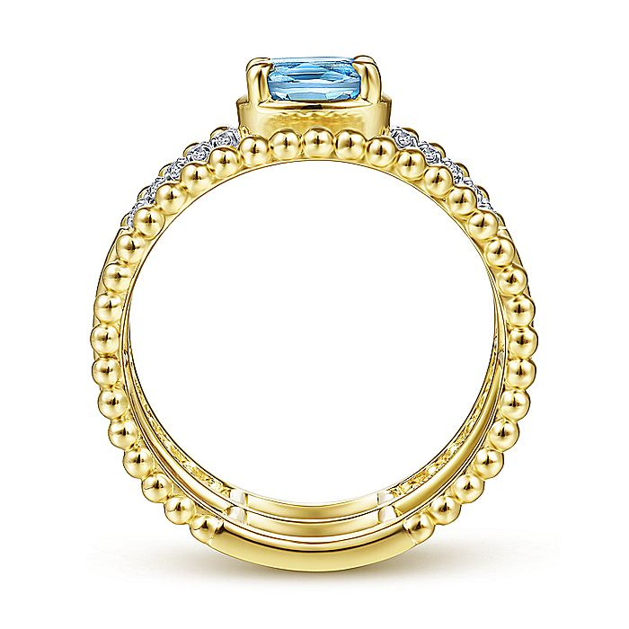 14K Yellow Gold Oval Swiss Blue Topaz and Diamond Three Row Ring