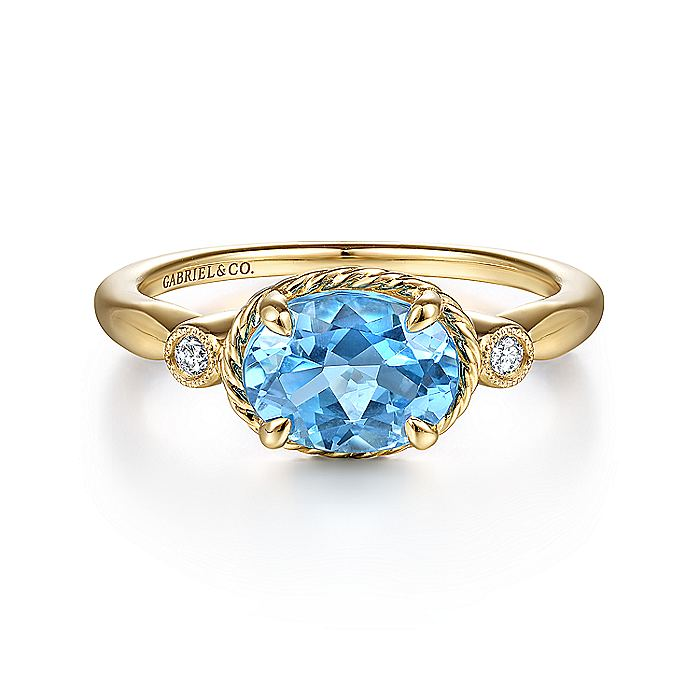 14K Yellow Gold Oval Swiss Blue Topaz and Diamond Three Stone Ring