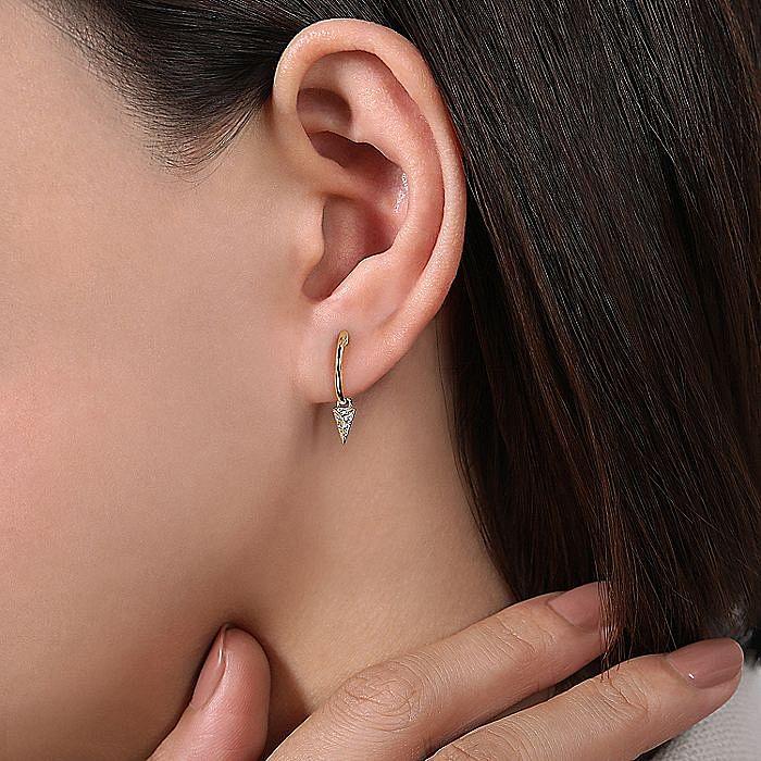 14K Yellow Gold Pavé 10mm Diamond Spike Drop Earrings