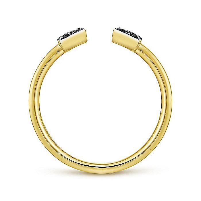 14K Yellow Gold Pavé Black Diamond Triangle Split Ring