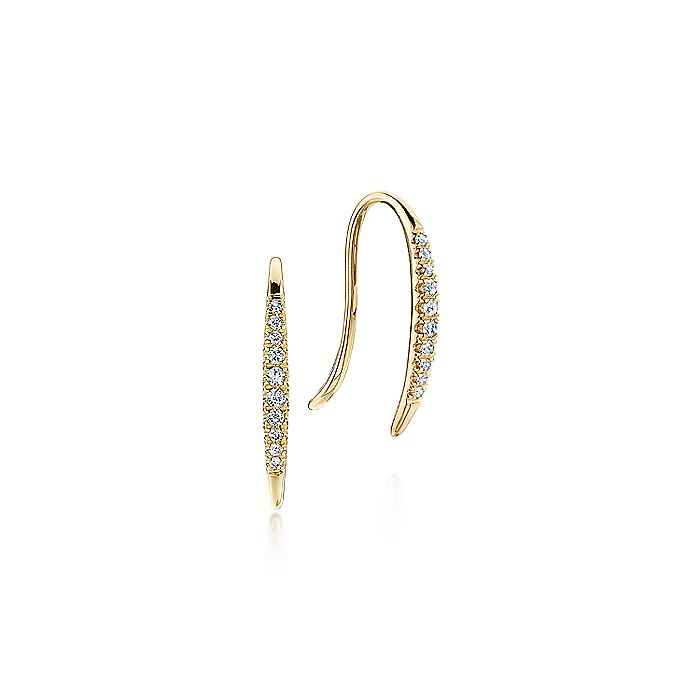 14K Yellow Gold Pavé Diamond Ear Climber Earrings