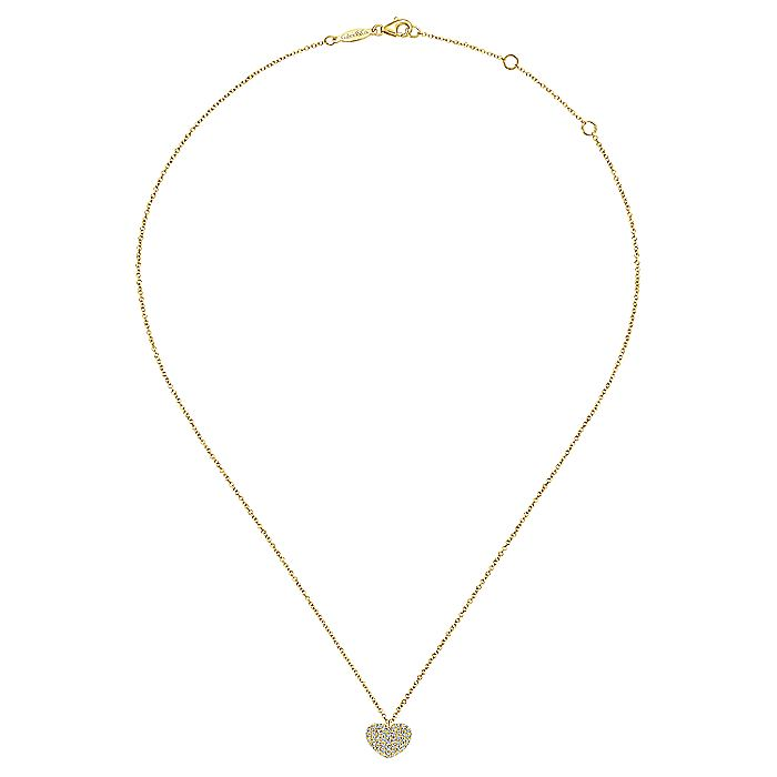 14K Yellow Gold Pavé Diamond Encrusted Heart Necklace