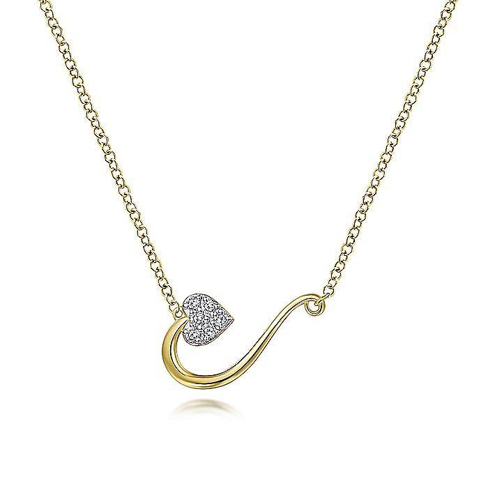 14K Yellow Gold Pavé Diamond Heart Pendant Necklace