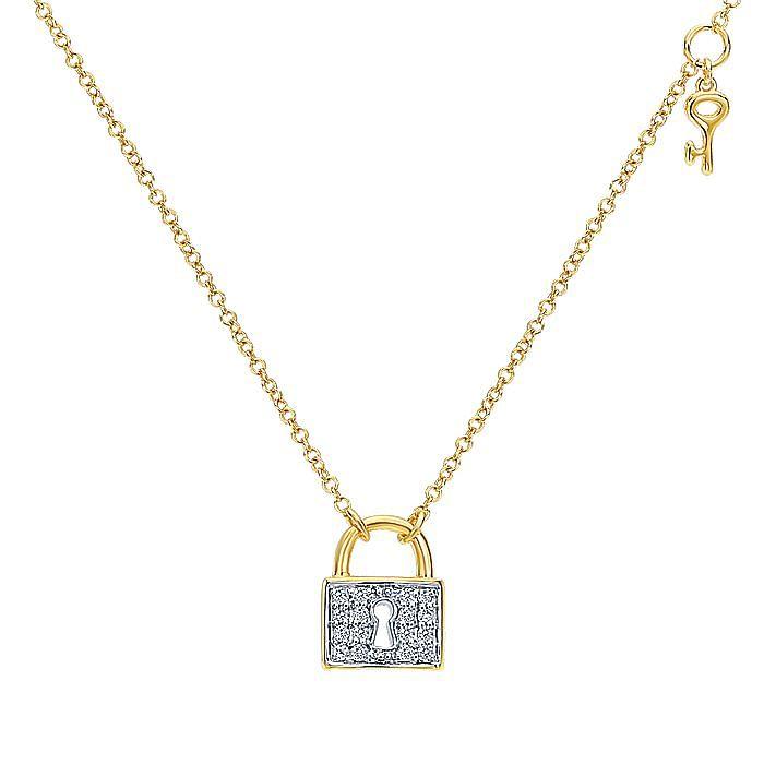 14K Yellow Gold Pavé Diamond Lock Pendant Necklace