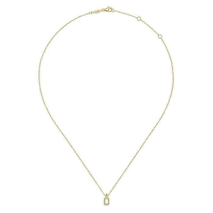 14K Yellow Gold Pavé Diamond Rectangle Pendant Necklace