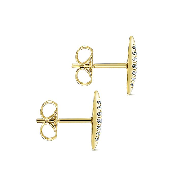 14K Yellow Gold Pavé Diamond Spiked Stud Earrings
