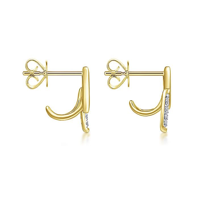 14K Yellow Gold Pavé Diamond Tapered Parallel Bar Stud Earrings