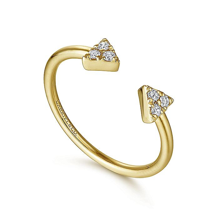 14K Yellow Gold Pavé Diamond Triangle Split Ring