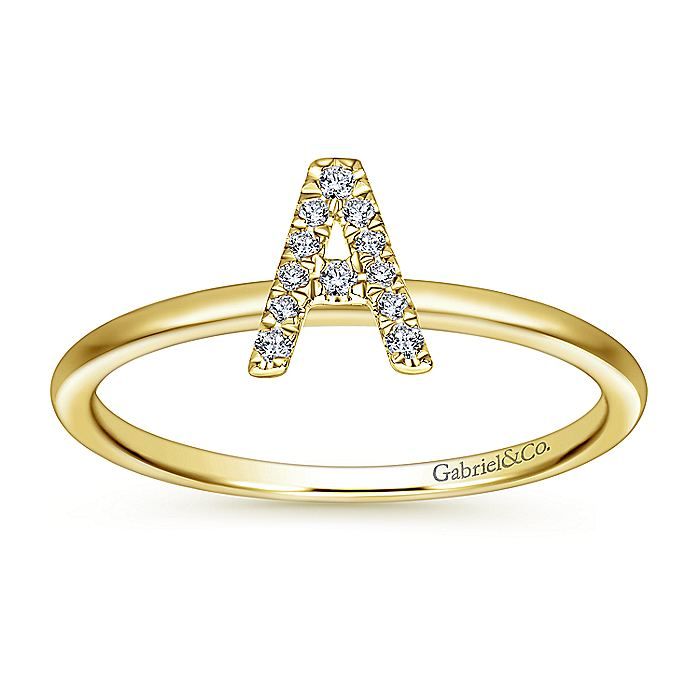 14K Yellow Gold Pavé Diamond Uppercase A Initial Ring