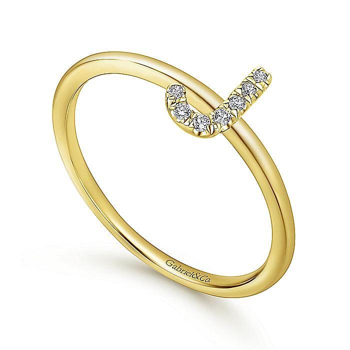 14K Yellow Gold Pavé Diamond Uppercase J Initial Ring