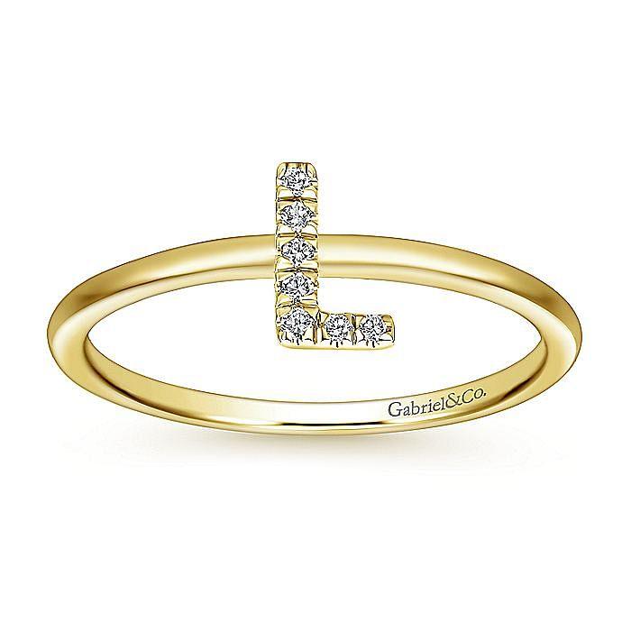 14K Yellow Gold Pavé Diamond Uppercase L Initial Ring