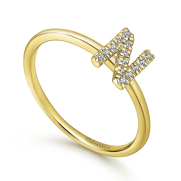 14K Yellow Gold Pavé Diamond Uppercase N Initial Ring