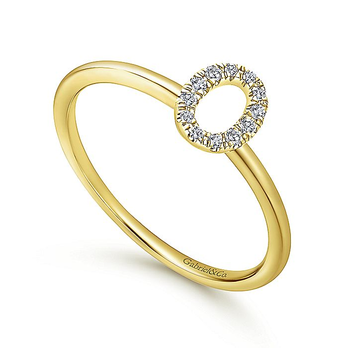 14K Yellow Gold Pavé Diamond Uppercase O Initial Ring